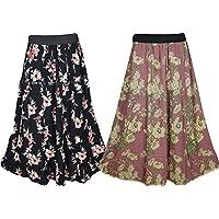 Mogul Interior Boho Chic Womens Maxi Skirt Printed A-Line Flared Casual Long Skirts Wholesale 2 Lot