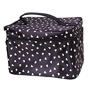 Cute Heart-Pattern Cosmetic Bag Makeup Pouch Case Toiletry Bag Make-Up Bag - Black