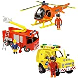 Fireman Sam Deluxe Friction Rescue Jupiter, Helicopter & Rescue Vehicle Set by Born To Play