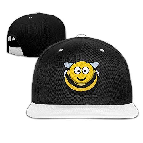 kakakaoo Fat Bee Hut Hip Hop Krempe Snapback Flat Bill Cap weiß, Herren, weiß