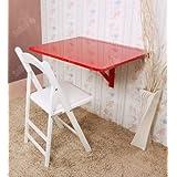 SoBuy® Mesa plegable de pared, mesa plegable, mesa de madera, mesa de comedor de madera, 75x60cm, FWT01-R(rojo)