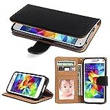 SOWOKO Galaxy S5 Hülle, Handy Schutzhülle für Samsung Galaxy S5/ S5 Neo Tasche Leder Wallet Flip Case Brieftasche Etui Schale mit Karte Halter, Schwarz