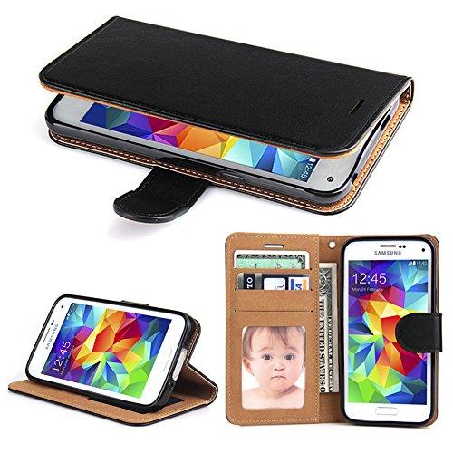 Galaxy S5 Hülle, SOWOKO Handy Schutzhülle für Samsung Galaxy S5/ S5 Neo Tasche Leder Wallet Flip Case Brieftasche Etui Schale mit Karte Halter, Schwarz (Brieftasche Für Männer-magnet)