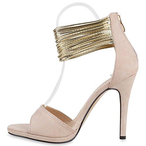 Damen Sandaletten Strass High Heels Party Schuhe Metallic Glitze Brautschuhe Abschlussball Hochzeit Nude Gold