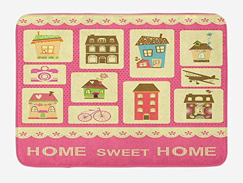 tgyew Home Sweet Home Bath Mat, Retro Style Collection with Different Houses Bicycle Plane and Photo Camera, Plush Bathroom Decor Mat with Non Slip Backing, 23.6 W X 15.7 W Inches, Multicolor -