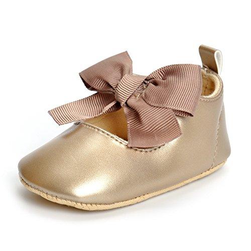 (ESTAMICO Baby Mädchen Anti-Rutsch Weiche Leder Bowknot Taufschuhe Kleinkind Sneaker Golden 15-18 Monate)