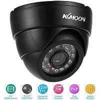 """KKmoon HD 1200TVL Cámara de Vigilancia en Domo 1/3"""" CMOS IR-CUT CCTV Sistema de Seguridad Indoor Visión Nocturna PAL, Color Blanco/Negro"""