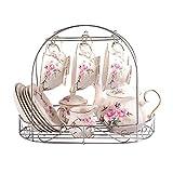 Juego de café de té de Porcelana de Hueso de 15 Piezas Juego de café de Servicio de Porcelana de Hueso Europeo con Soporte de Metal, Estampado de Camelia Rosa Juego de té Floral Vintage, para Househo