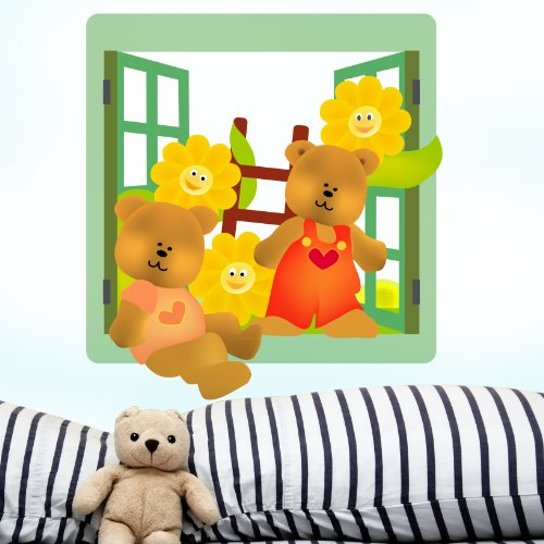 STIKID Teddy Bear Window Ein Fenster im Kinderzimmer mit Freunden