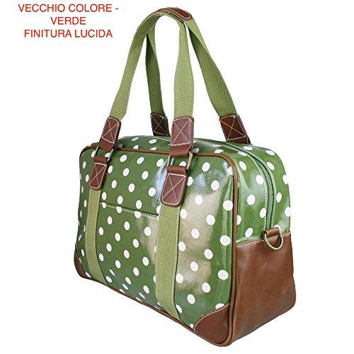 Miss Lulu borsa da viaggio, palestra in tela cerata a pois Verde, finitura opaca