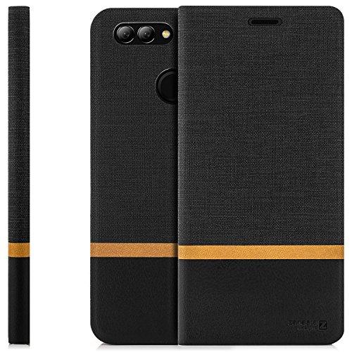 zanasta Tasche kompatibel mit Huawei Nova 2 Plus Hülle Flip Case Schutzhülle Handytasche mit Kartenfach Schwarz