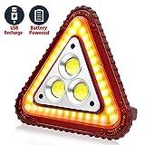 Szbtia LED Ricaricabile Lampada, Luce di emergenza triangolare, lampada da lavoro a COB Lampada, Lanterna da campeggio per riparazioni auto d'emergenza all'aperto 4 modalità Regolabili