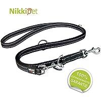 [Gesponsert]Nikkipet Hundeleine, schwarz + Reflektoren, massiv und verstellbar in 3 Längen 1,1 m – 1,8 m, 2 cm breit, für große und mittlere Hunde, Hunde-Leine, Doppelleine, geflochten