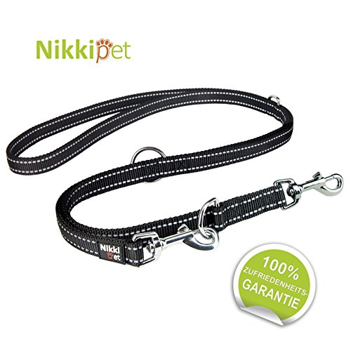 NIKKIPET Hundeleine, schwarz + Reflektoren, massiv und verstellbar in 3 Längen 1,1 m – 1,8 m, 2 cm breit, für große und mittlere Hunde, Hunde-Leine, Doppelleine, geflochten