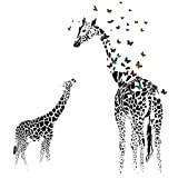 Giraffe Butterfly Silhouette Wall Sticker for Door Stairs Living Room Bedroom Decor Woman Teenager Baby Girl Boy Kids Children Nursery Decal Wall Art Murals Poster Wallpaper (B)
