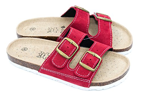 TexBase Damen Pantoletten Bio Leder Kork Pantoffeln Perfekte Hausschuh (37)