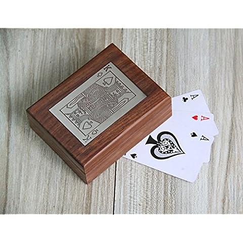Regalos de Navidad, Single Deck Naipes caja de almacenaje del sostenedor mano a mano con incrustaciones decorativas de laton