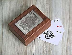 Store Indya, Single Deck carte da gioco Storage Box Holder fatti a mano con ottone decorativo intarsio