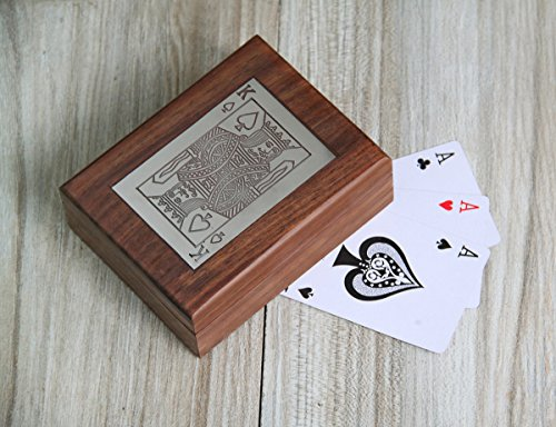 Weihnachtsge schenke exquisite handgefertigte dekorative hölzerne Doppel Spielkarte Deck Inhaber Box mit Messing Ace Design Inlay - Halloween-kaffee-kunst