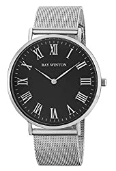 Ray Winton Mens Slim Analog Black Roman Numerals Dial Silver Stainless Steel Mesh Bracelet Watch