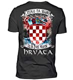 Kroatien Shirt/Ruku NA srce Kriz oko vrata TA je sivot pracog Hrvata/Kroatisch - Herren V-Neck Shirt -XXL-Schwarz