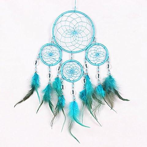 Ouneed® Plume Bijoux Cercle de Attrape-rêves Ruban pour Filtrer Malheur (Diam 13cm) (Bleu)