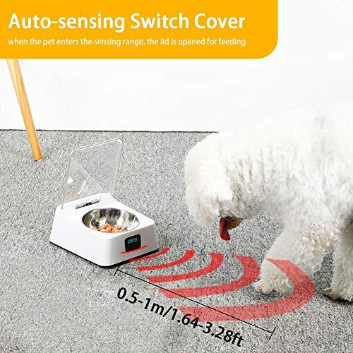 Pet Smart Feeder, Pet Health Bowl, Wiegen Intelligente Waage Scientific Futternapf, Infrarot-Sensor automatische Abdeckung, Anti Mite Anti-Maus feuchtigkeitsfest Intelligente Feeder Cat Hundenapf -