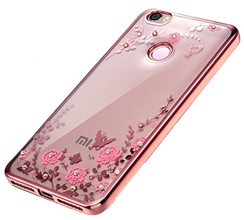 KolorFish Little Flower Bling Thin Silicone Back Case Cover for Xiaomi Mi Max (Rose Pink)