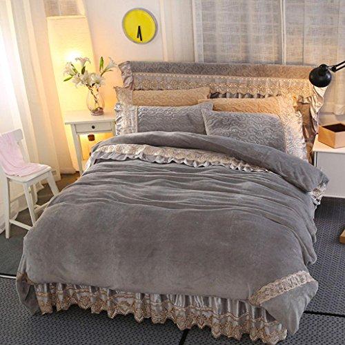 yifutang Bettwäsche-Set Bettbezug-Set Bett Rock Plus Samt Verdickter vierteiliger Anzug Blätter Spitze Gemütlich Warm halten Bettdecke Tagesdecken Kissenbezug Doppelbett, 2.0m (6.6 feet) Bed -