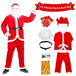 C-Oral Disfraz de Papá Noel para Adulto (10 Piezas), Costume Santa Claus, Traje de Santa, Muy cómodo.