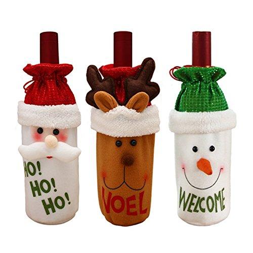 Set di 3 bottiglia di vino rosso di vino coperchio vino decorazione elk, pupazzo di neve e babbo natale vino regalo borsa bottiglia di vino abiti vacanza festa di vino bottiglia borsa casa decorazione tavola decorazione natalizia(set di 3)