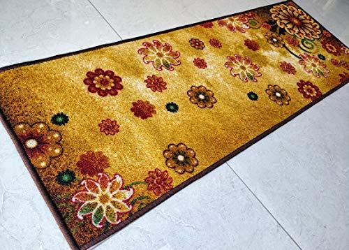 Buyelegant®, tappeto antiscivolo a tema arte, realizzato in 100% poliestere e con retro in lattice ecologico, lavabile., poliestere, morning bloom (brown), 137 cms x 49 cms
