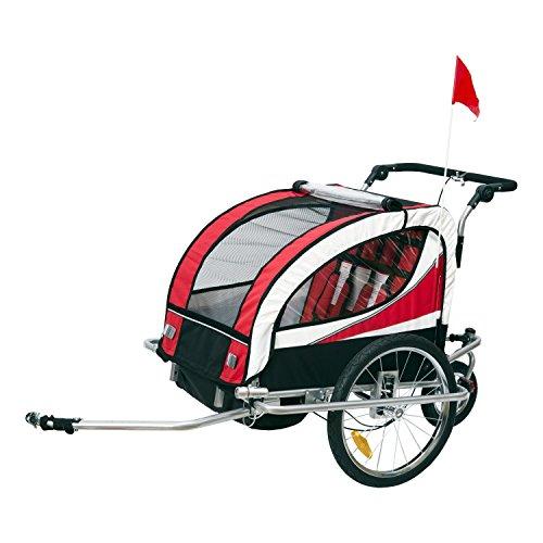 HOMCOM Remolque para Bicicleta tipo Carro con Barra de Paseo para Niños de 2 Plazas con Rueda Delantera Giratoria 360° y Asiento Acolchado Carga Máx. 40kg (Rojo)