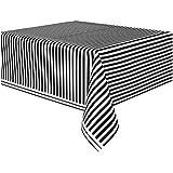Unique Party Mantel de plástico a rayas negras 2,1 x 1,3 m