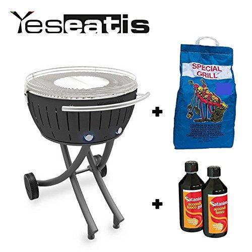 YesEatIs Lotusgrill XXL mit Raeder - Starter Kit BBQ mit 2Kg Carbobois Holzkohle und 500ml Feueranzuender Gel Satanino - Schwarz