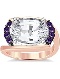 Silvernshine 4Ct Oval & Round Cut Sim Amethyst Diamonds 18K Rose Gold Plated Engagement Ring