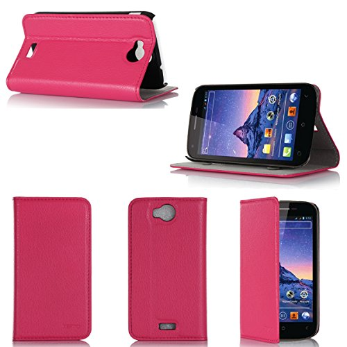 Wiko Cink Peax 2 Tasche Leder Hülle rosa Cover mit Stand - Zubehör Etui Wiko Cink Peax 2 Flip Case Schutzhülle (PU Leder, Handytasche rosa pink) - XEPTIO accessories
