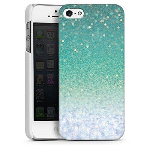 Apple iPhone 4 Housse Étui Silicone Coque Protection Paillettes Vert Bling-bling CasDur blanc