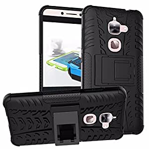 Parallel Universe Letv Le 2 Dual Layer Rugged and Tough Defender Back Cover Case with built-in stand - Black