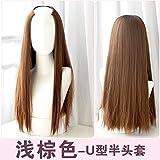 WIAGHUAS Perücke langes Haar glattes Haar unsichtbare nahtlose Haarteil natürliche realistische Mode Farbverlauf Haarfarbe Set,hellbraun