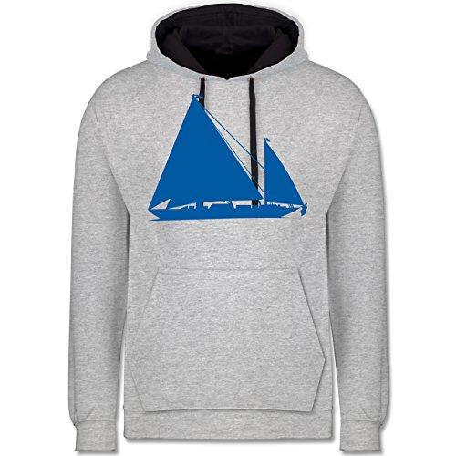 Schiffe - Segelboot - Kontrast Hoodie Grau meliert/Dunkelblau