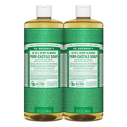 Dr. Bronner Magic Soaps Pure-Kastilien Seife, 18-in-1 Hemp Almond, 32-Unzen-Flaschen (2er Pack) -