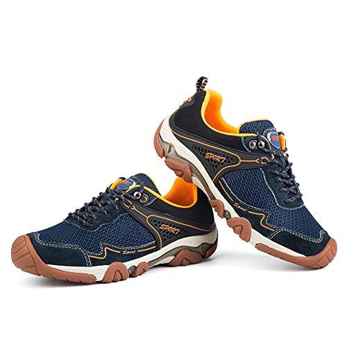 UBFen Herren Sportschuhe Trekking Wanderhalbschuhe Sneakers Outdoorschuhe Wanderschuhe Turnschuhe Casual Schuhe Atmungsaktives Mesh Braun Blau B Blau