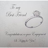 White Cotton Cards Hecho a Mano a mi Mejor Amigo felicitaciones por tu Compromiso para Tarjeta
