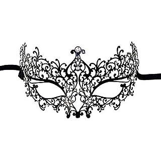 Alohha Luxus Laser Cut Metall Venetian Filigree Maske mit Strass Hübsche Maskerade-Halloween-Party-Maske (Maske 001OC)