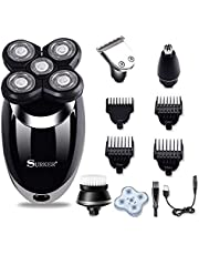 Surker Electric Razor for Men, 4 in 1 Cordless Bald Head Shaver Waterproof USB Rechargeable Rotary Shaver Nose Ear Beard Trimmer Travel Grooming Kit Professional Hair Clipper for Men Teen Boy Husband