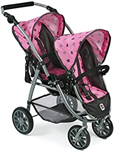 Bayer Chic 200068983Tandem de Buggy Vario, de Gemelos muñeca Carro, Gris de Estrellas, Color Rosa