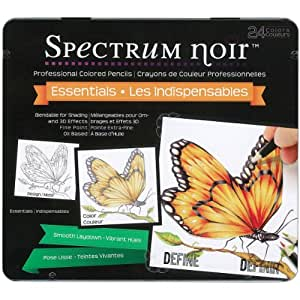 Crafter's Companion Wood Spectrum Noir à crayons 24PC Set-essential Couleurs
