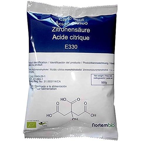 Acido Citrico 4 Kg (8x500g), La Migliore Qualità Alimentare, Naturale al 100%, in polvere E330, Decalcificazione Ecologica, NortemBio, prodotto CE.