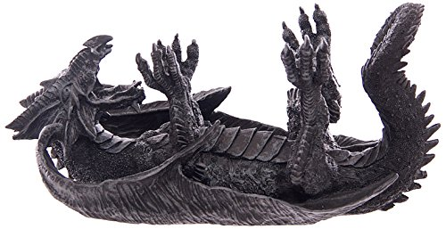Puckator DRG272 - Porta-bottiglie di vino a forma di dragone gotico, colore grigio 15 x 31 x 15 cm
